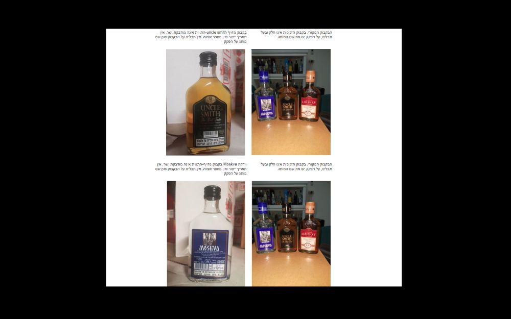 צילומי השוואה של בקבוקי אלכוהול מקוריים ומזויפים (צילום מסך)