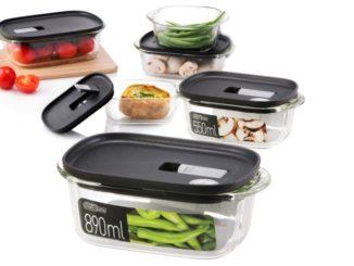 קופסאות מזון מזכוכית לאחסון וחימום, עם פקק לחילוץ אדים של לוק אנד לוק