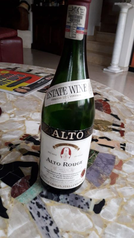 ALTO ROUGE Estate Wine Stellenbosch – Helderberg 1977
