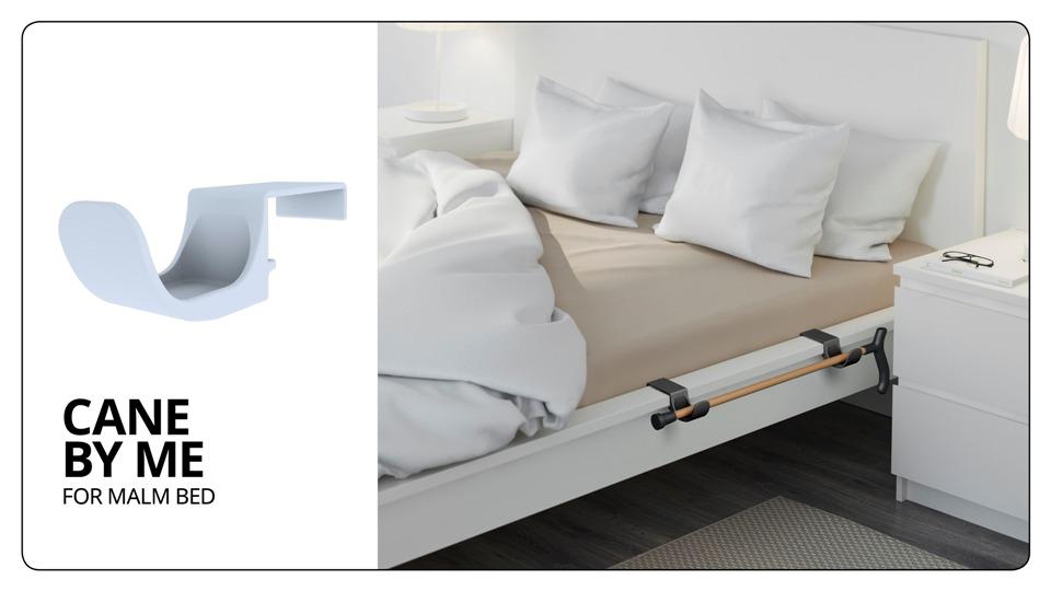 מנשא המאפשר לאנשים עם מוגבלות להניח מקל הליכה בצמוד למיטה